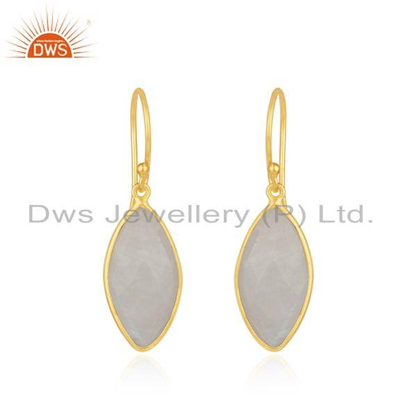 Natural Rainbow Moonstone Gold Plated 925 Silver Earrings Supplier