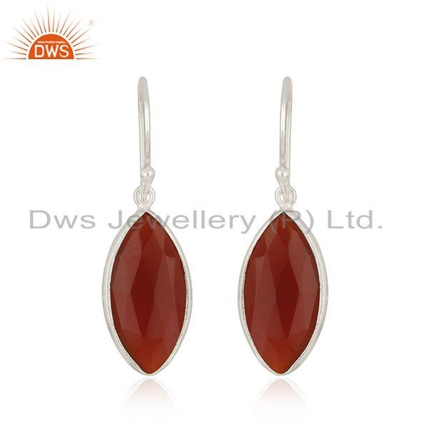 Fine 925 Sterling Silver Red Onyx Gemstone Earrings Supplier