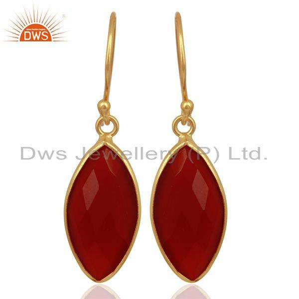 Red Onyx Drop 14K Gold Plated 925 Sterling Silver Earrings Jewelry