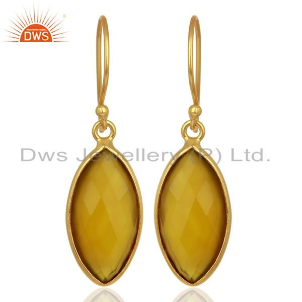 Yellow Chalcedony Drop 14K Gold Plated 925 Sterling Silver Earrings Jewelry