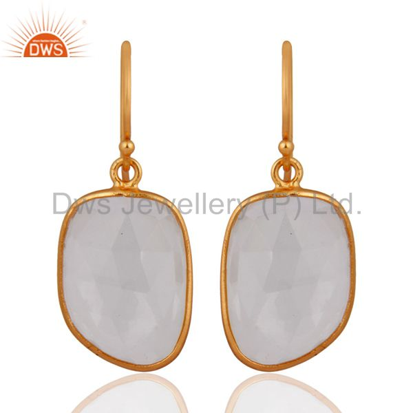 18K Gold Plated Sterling Silver Natural Crystal Quartz Bezel Set Earrings