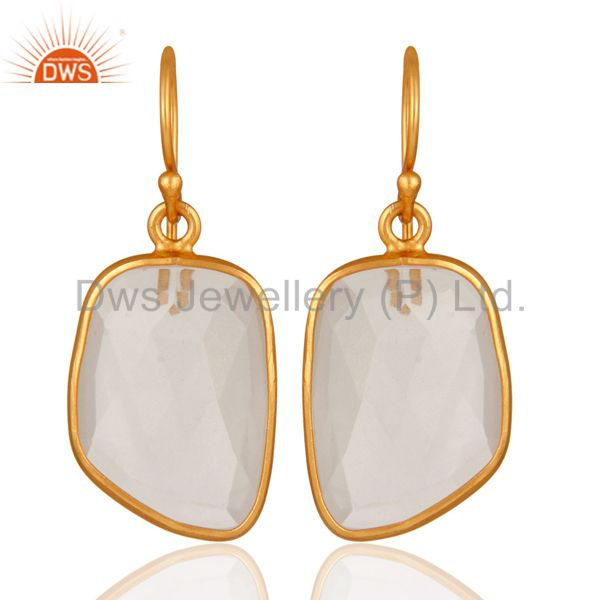 18K Gold Plated Sterling Silver Natural White Woonstone Bezel Set Earrings