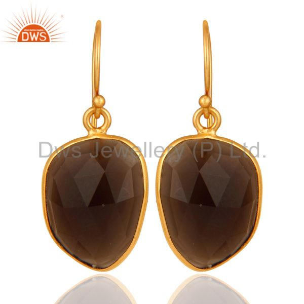 Natural Smoky Quartz Gemstone Earrings 18K Gold Over Sterling Silver Jewelry