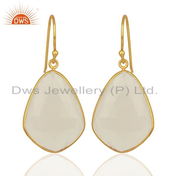 White Chalcedony Gemstone Gold Plated Fashion Earring Manufacturer