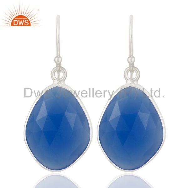 Natural Blue Chalcedony 925 Sterling Silver Bezel-set Gemstone Dangle Earrings