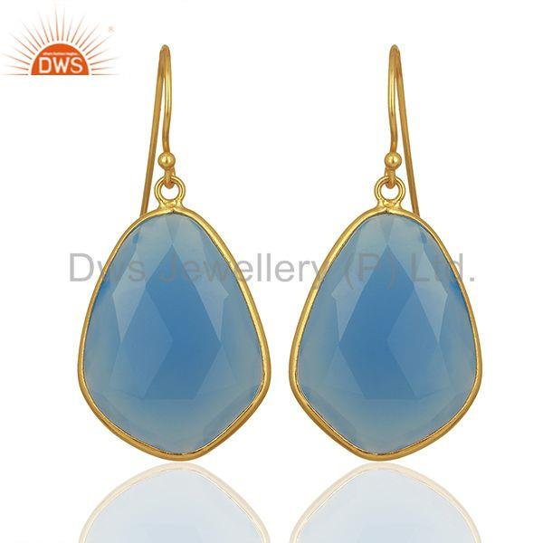 Blue Chalcedony Gemstone 925 Silver Gold Plated Earrings Jewelry