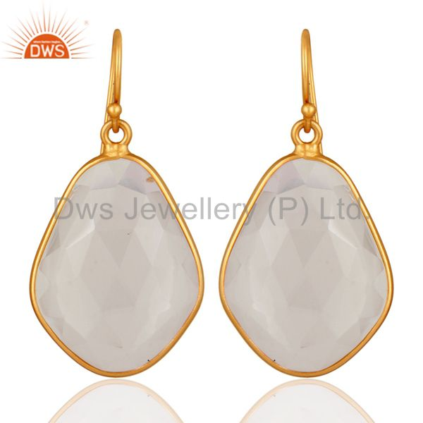 Handmade Faceted Crystal Quartz Bezel Set Gold Plated Sterling Silver Earrings