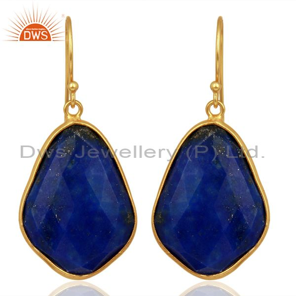 Lapis Lazuli Handmade Sterling Silver 18K Gold Plated  Bezel Set Dangle Earrings