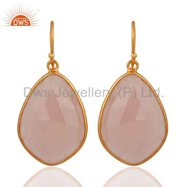 Natural Chalcedony Gemstone Earrings Made In 18k Gold Over 925 Sterling Silver