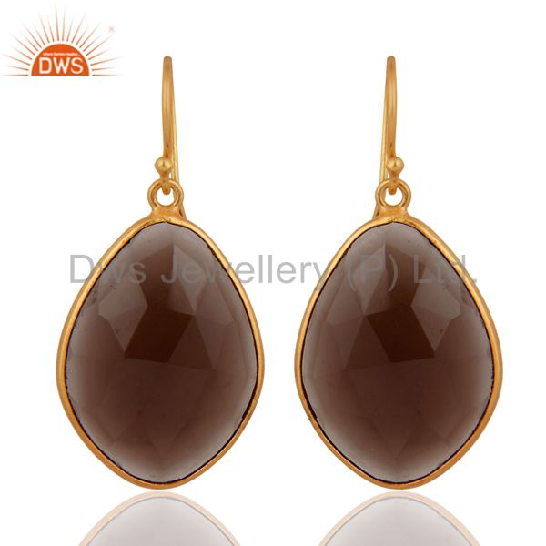 Solid 925 Sterling Silver Faceted Smoky Quartz Bezel Gold Plated Earring Jewelry
