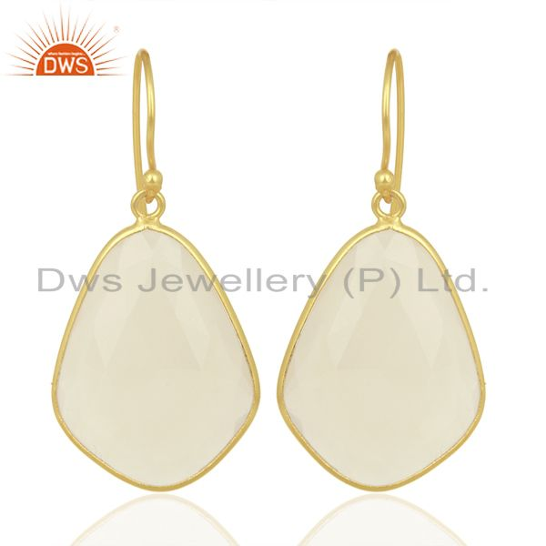 Natural White Chalcedony Bezel Drop Wholesale Unshape Gemstones Earring