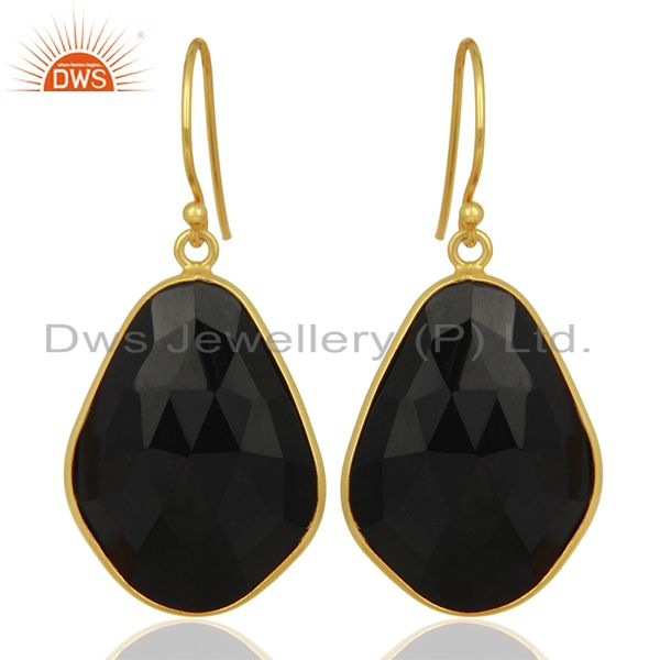 Black Onyx Large Single Drop Gold Plated 92.5 Sterling Silver Earring