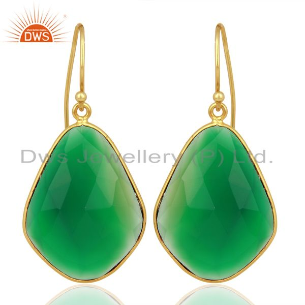 Green Onyx Large Single Drop Gold Plated 92.5 Sterling Silver Earring