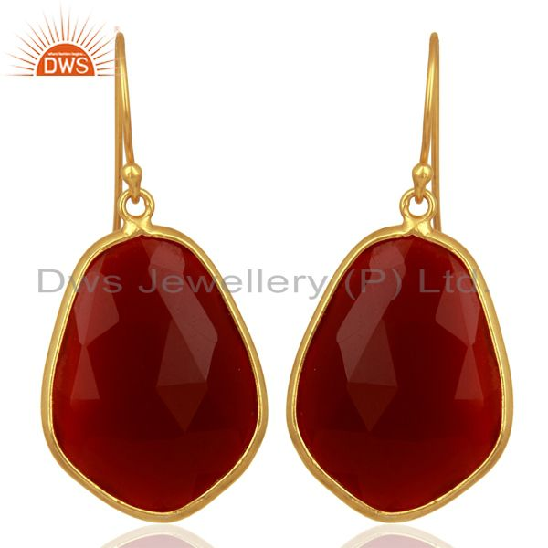 Red Onyx Bezel Setting Drop Wholesale Sterling Silver Earrings