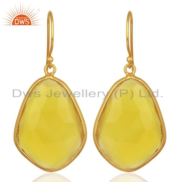 Yellow Chalcedony Bezel Setting Drop Wholesale Sterling Silver Earrings