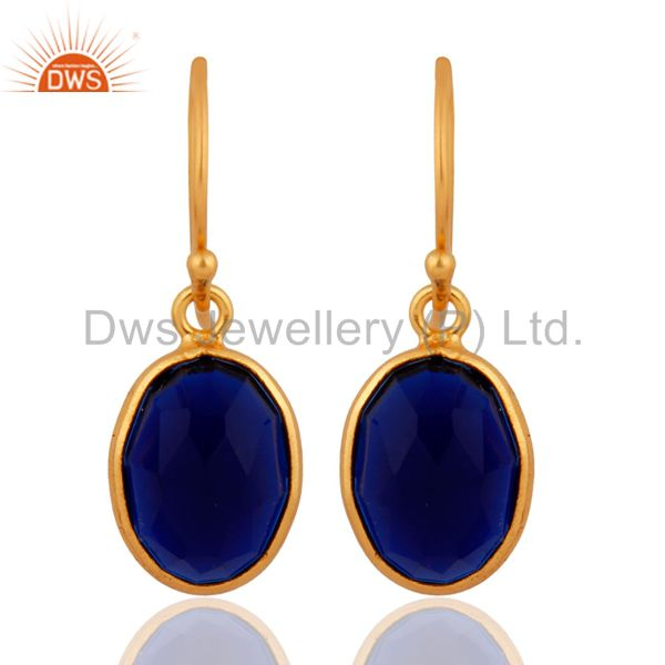18K Gold Plated Sterling Silver Sapphire Blue Corundum Bezel Set Dangle Earrings