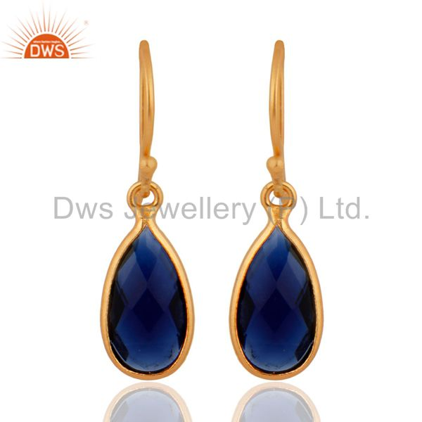 Gold Plated Bezel Set Corundum Blue Sapphire Pear Shape Briolette Silver Earring
