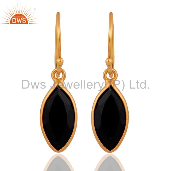 Sterling Silver Pear Shaped Black Onyx Gold Plated French Wire Dangle Earrings