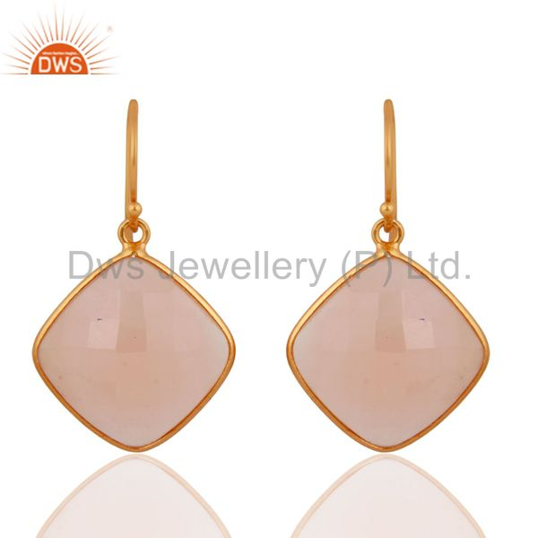 Designer Rose Chalcedony Handmade Sterling Silver Gold Plated Hook Earrings