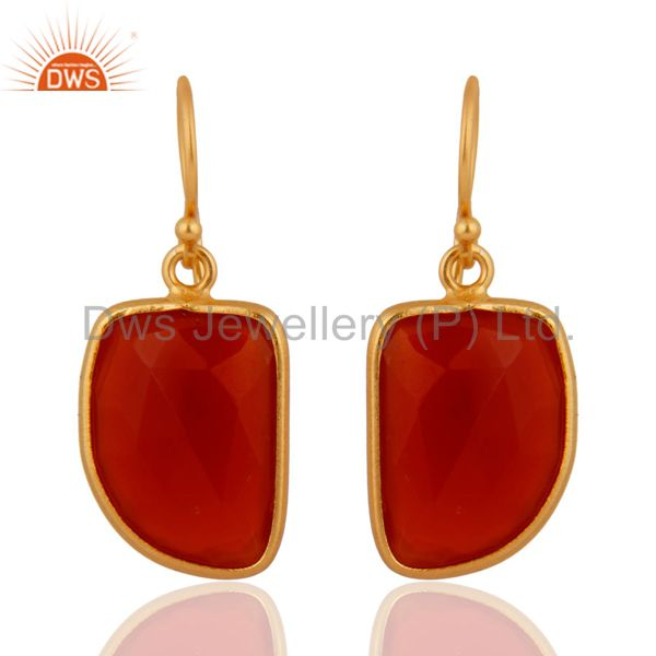 Gemstone Red Onyx 18K Gold Plated Dangle Earrings 925 Sterling Silver Jewelry