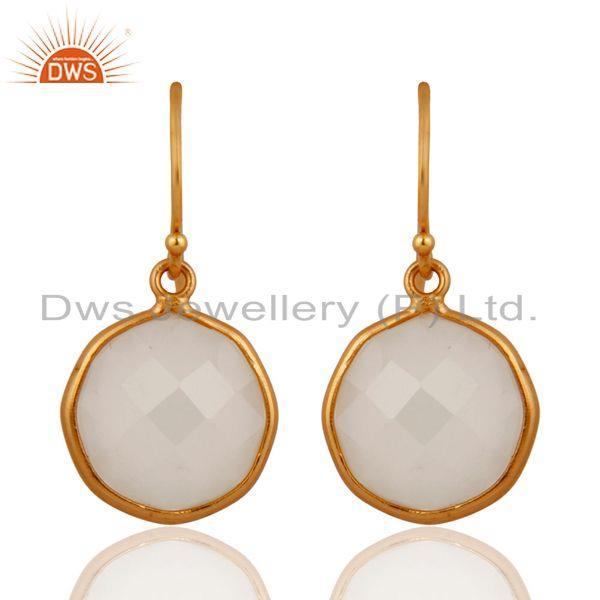 Gold Plated White Chalcedony Gemstone 925 Sterling Silver Handmade Hook Earring