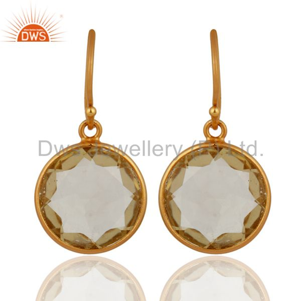 Genuine Lemon Topaz Gemstone Dangle Earrings In 925 Sterling Silver Jewelry