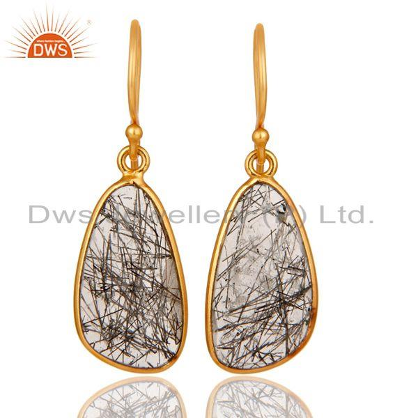 18K Gold Plated Sterling Silver Black Rutile Gemstone Bezel Set Earrings