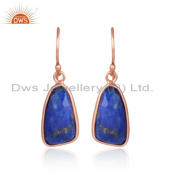 Lapis set rose gold on 925 silver casual earwire earrings