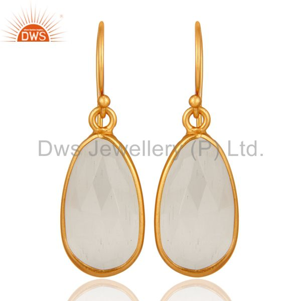 925 Sterling Silver With Gold Plated Bezel-Set White Moonstone Drop Earrings