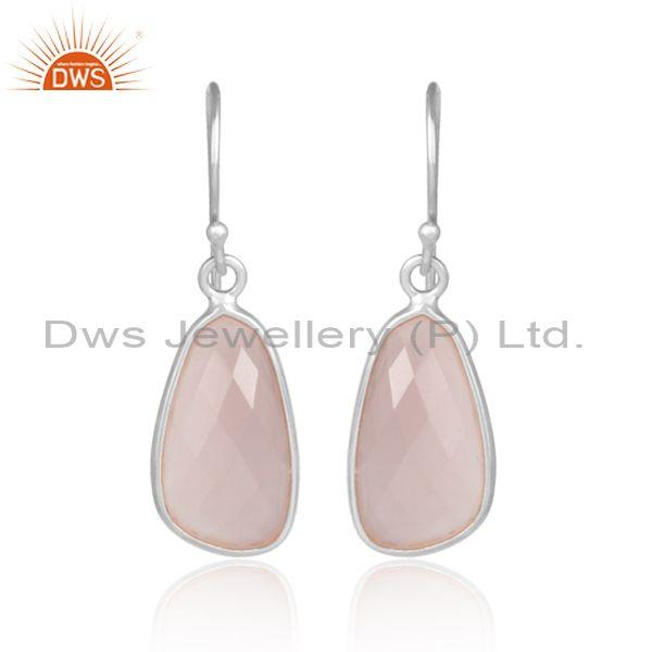Rose Chalcedony Set White Rhodium On Silver Earwire Earrings