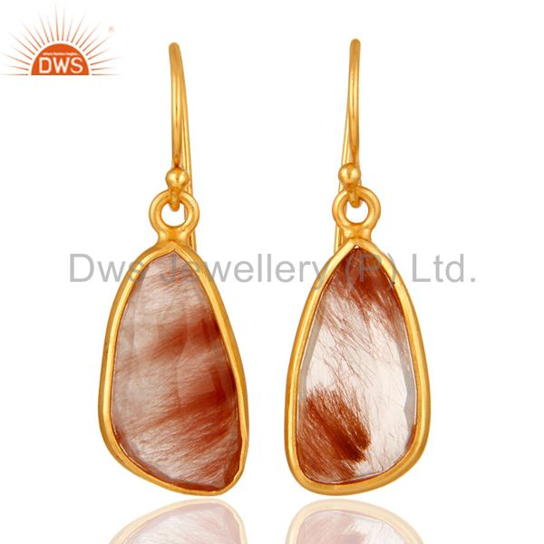 Handmade 925 Sterling Silver Golden Rutilated Quartz Earrings With Gold Plated