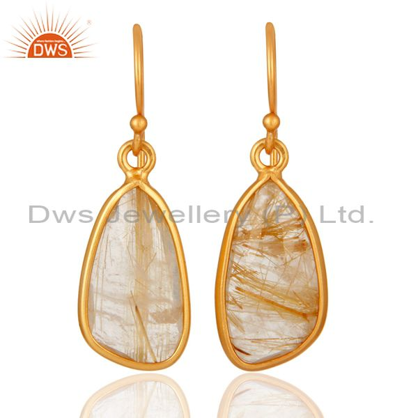 Stunning Yellow Gold Plated Sterling Silver Rutilated Quartz Dangle Earrings