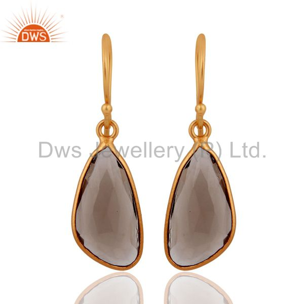 925 Sterling Silver Natural Smoky Quartz Hook Earring With Gold Plated Jewelry