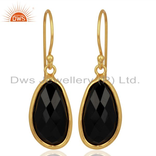 Black Onyx Handcrafted Artisan Drop Gold Plated Sterling Silver Jewelry