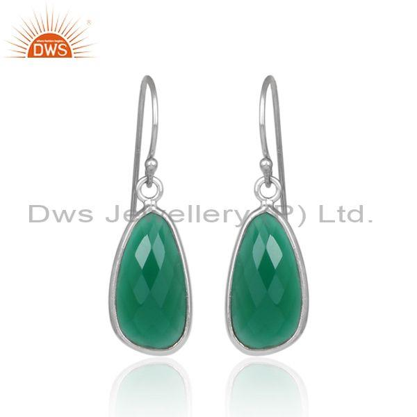 Green onyx set white rhodium on 925 silver earwire earrings