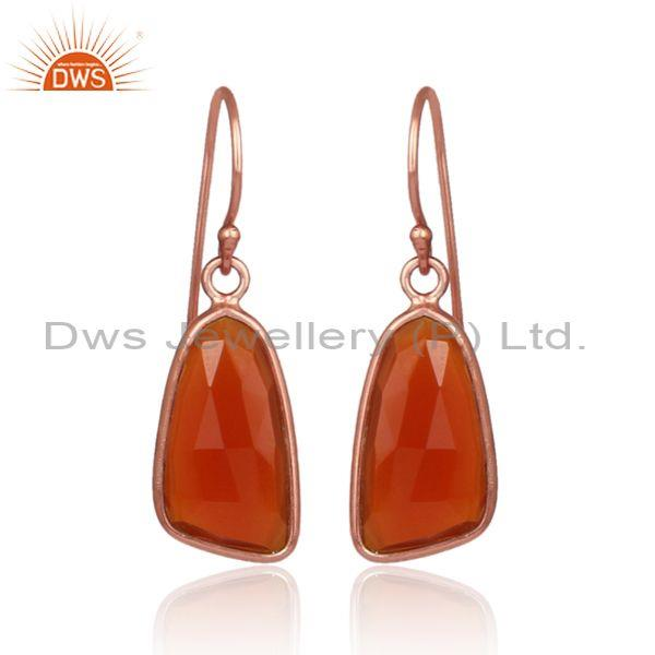 Red onyx set rose gold on 925 silver casual earwire earrings