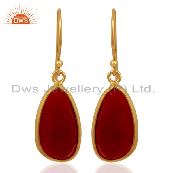 Red Onyx Handcrafted Artisan Drop Gold Plated Sterling Silver Jewelry