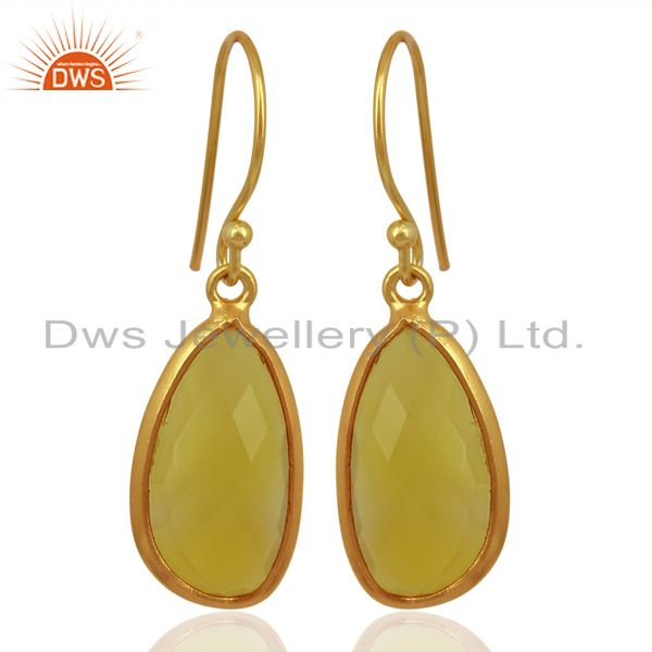 Yellow Chalcedony Handcrafted Artisan Drop Gold Plated Sterling Silver Jewelry