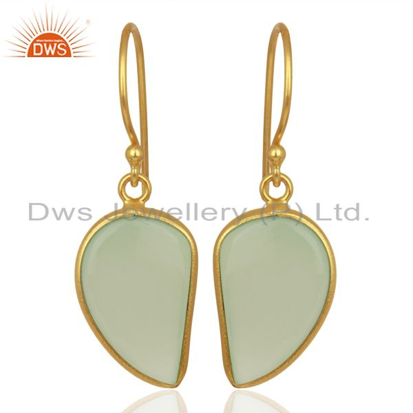 Aqua Chalcedony Handcrafted Artisan Abstract Gold Plated Drop Wholesale Earrings