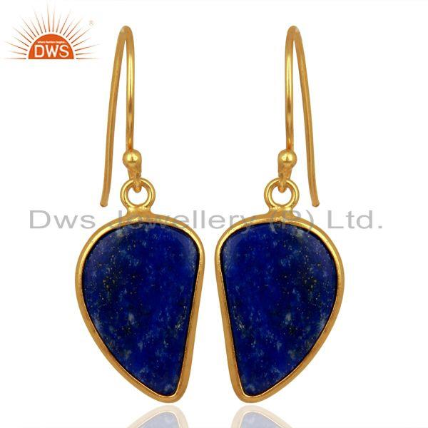 Lapis Handcrafted Artisan Abstract Gold Plated Drop Wholesale Earrings