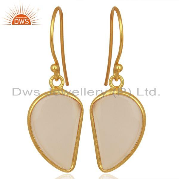 Rose Chalcedony Handcrafted Artisan Abstract Gold Plated Drop Wholesale Earrings