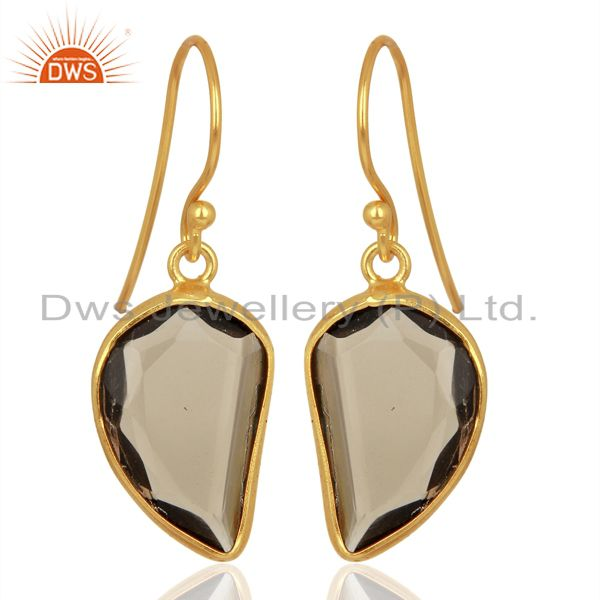 Smoky Topaz Handcrafted Artisan Abstract Gold Plated Drop Wholesale Earrings