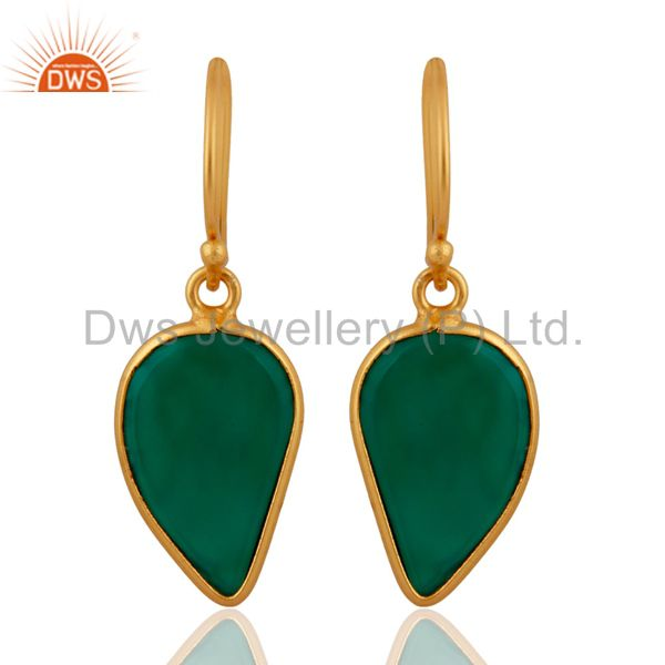 Green Onyx Handcrafted Artisan Abstract Gold Plated Drop Wholesale Earrings