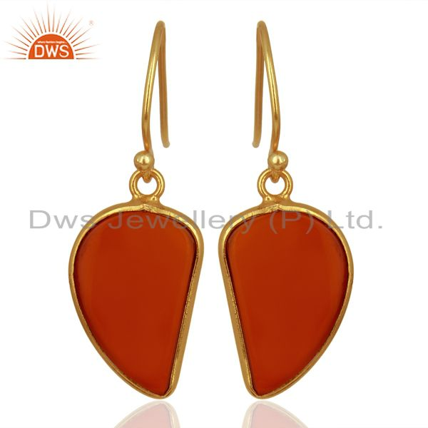 Red Onyx Handcrafted Artisan Abstract Gold Plated Drop Wholesale Earrings