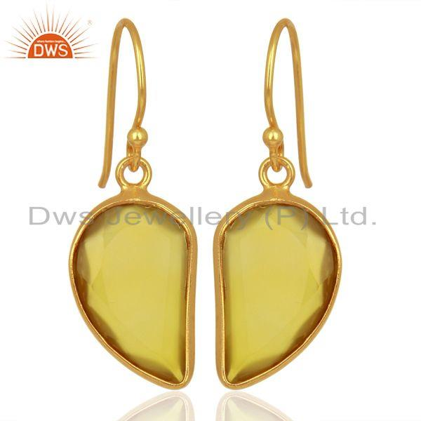 Yellow ChalcedonyHandcrafted Artisan Abstract Gold Plated Drop Wholesale Earring