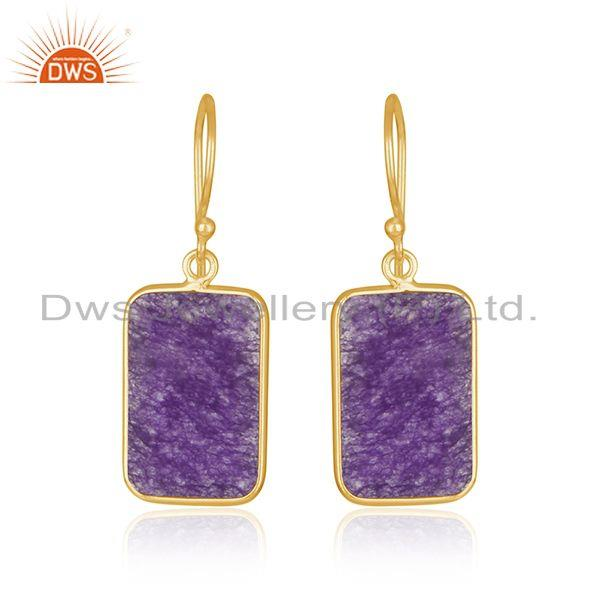Amethyst Aventurine Gemstone Gold Plated 925 Silver Earrings Suppiler