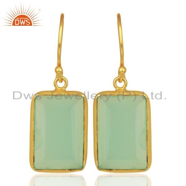 Aqua Chalcedony Gemstone Sterling Silver Gold Plated Earrings Jewelry