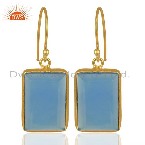 Blue Chalcedony Gemstone Gold Plated Silver Womens Earrings