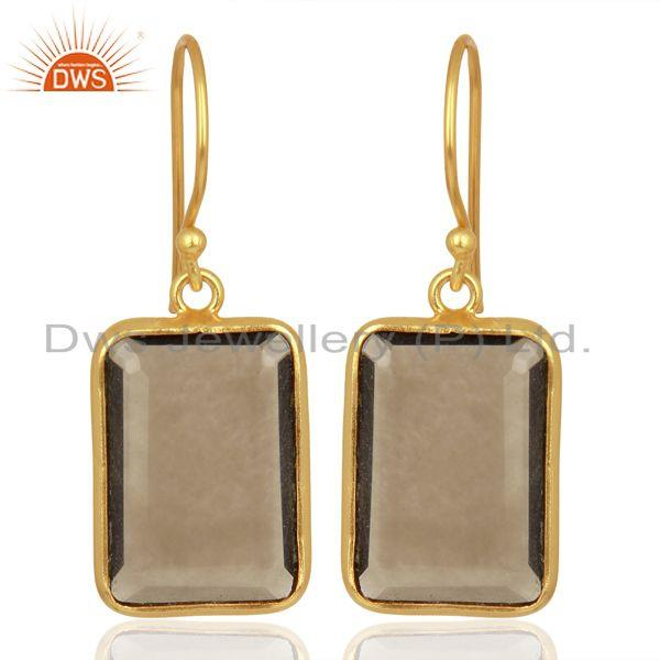 Smoky Topaz Handcrafted Artisan Gold Plated Drop Wholesale Jewelry