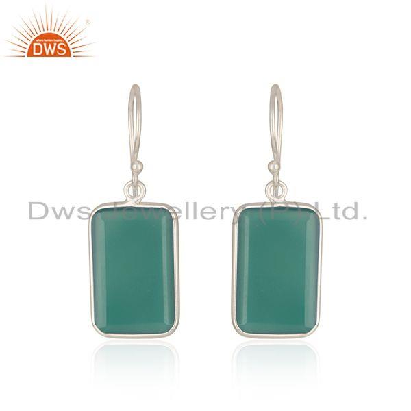 Indian Handmade Fine Sterling Silver Green Onyx Gemstone Earrings